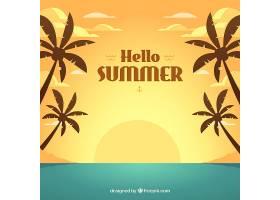 夏日背景以平坦的日落为背景_2190144