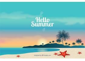 夏日背景写实风格的海滩景观_2148301