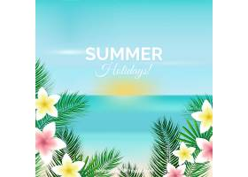 夏日背景写实风格的海滩景观_2163191