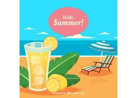 夏日背景可观赏海滩景观和新鲜饮品_2147116