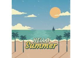 夏日背景复古风格的海滩景观_2171515