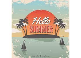 夏日背景复古风格的海滩景观_2171518