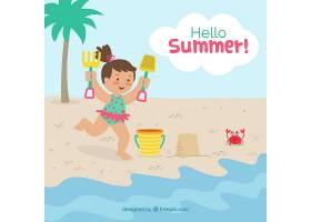 夏日背景女孩在海滩上玩耍_2146454