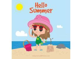 夏日背景女孩在海滩上玩耍_2146950