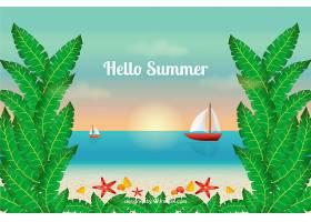 夏日背景带帆船的海滩景观_2148300