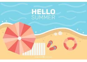 夏日背景平坦风格的海滩俯瞰_2190142