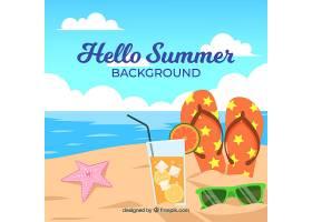 夏日背景平坦风格的海滩景观_2148299