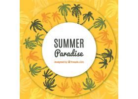 夏日背景手绘棕榈树_1129189
