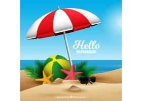 夏日背景海滩写实风格_2314746