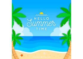 夏日背景海滩景观和棕榈树_2147106
