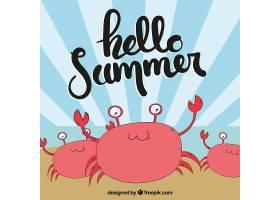 夏日背景手绘螃蟹_1128743