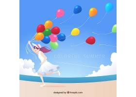 夏日背景有女孩和气球_2297746