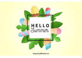 夏日背景有树叶和冰激凌采用扁平设计_1141179