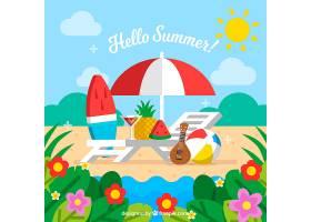 夏日背景有海滩和植被_2342556