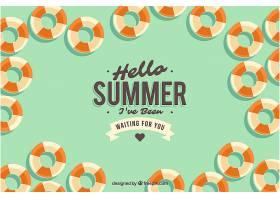 夏日背景有许多平坦风格的花车_2190143