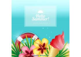 夏日背景有鲜花和其他元素_1128747