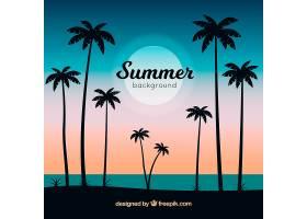 夏日背景棕榈树剪影_2232720