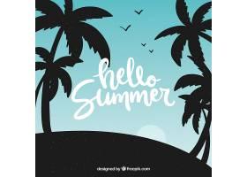 夏日背景棕榈树的剪影_2314747