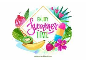 夏日背景水彩画风格_2297754