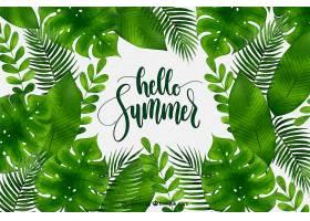 夏日背景水彩画风格的不同植物_2190037