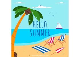 夏日背景沙滩和扁平风格的椅子_2190156