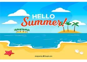 夏日背景海滩为平坦风格_2190150