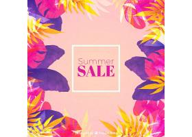 夏季销售背景水彩画风格的植物_2181413