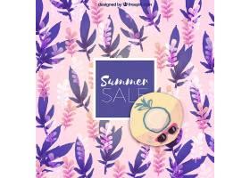 夏季销售背景水彩画风格的植物_2181415