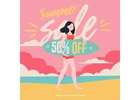 夏日促销背景与海滩上的女孩_2294879