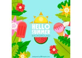 夏日的背景五颜六色的植物和冰淇淋_2146843