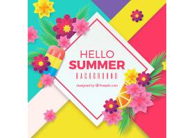 夏日的背景五颜六色的鲜花_2383100