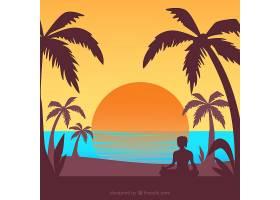 夏日的背景夕阳和棕榈树的剪影_2345770