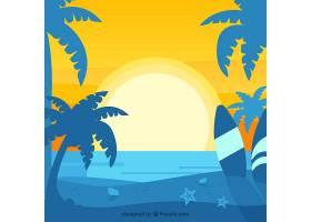 夏日的背景夕阳和棕榈树的剪影_2345771