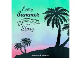 夏日的背景夕阳和棕榈树的剪影_2345772