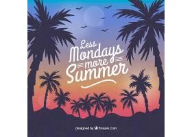 夏日的背景夕阳和棕榈树的剪影_2345773