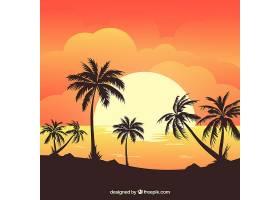 夏日的背景日落和棕榈树_2338411