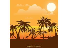 夏日的背景日落和棕榈树_2338412