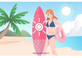 夏季背景有女孩和冲浪板_2146954