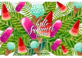 夏季背景有水彩植物和食物_2242728