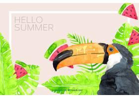 夏季背景水彩画风格的巨嘴鸟和植物_2190042