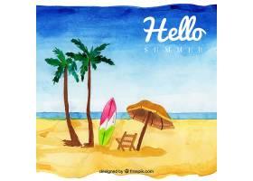 夏季背景水彩画风格的海滩景观_2190038