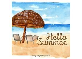 夏季背景水彩画风格的海滩景观_2190039