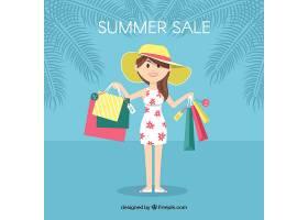 夏季销售背景女人拿着包_2153123