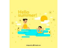 夏天的背景孩子们在海滩上玩耍_2147334