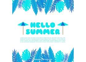 夏天的背景是蓝色的植物_2179615