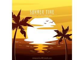 夏天的背景有阳光和棕榈树_1109213