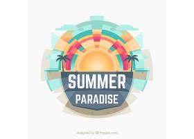 夏天的背景有阳光和棕榈树_2297882