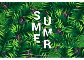 夏天的背景棕榈叶和紫色的花_1194748