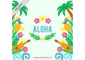夏威夷背景有四弦琴和花朵_909295