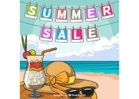 夏季促销背景可看到海滩景观_2306471